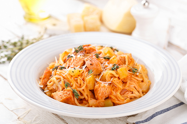 chicken-sausages-spagueti-bolognese